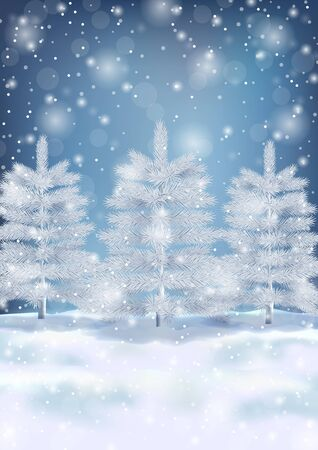 Winter landscape with fir trees and snowflakes illustration