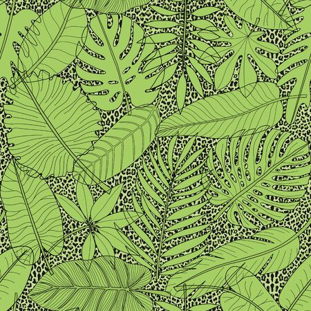Leaves of tropical plants green seamless pattern on leopard background