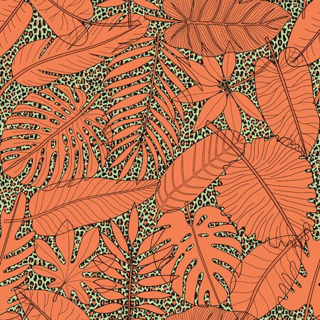 Leaves of tropical plants coral seamless pattern on leopard background Ilustração