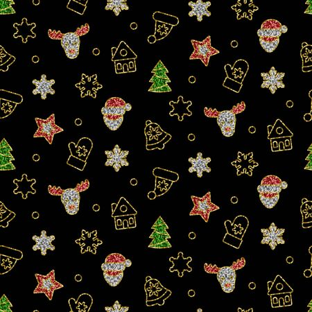 Christmas Toys from Sequins Vector Seamless Pattern. Stock Illustratie