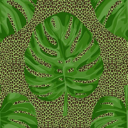 Monstera Leaves on leopard background seamless pattern