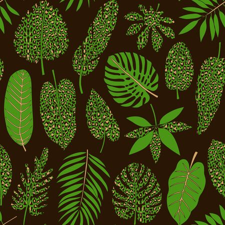 Leaves of tropical plants with leopard print seamless pattern