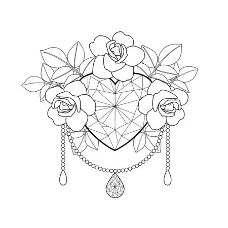 Heart and roses. Vector outline coloring pattern