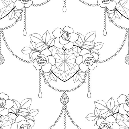 Heart and roses vector outline seamless pattern