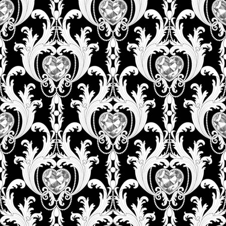 Baroque diamond jewelry seamless pattern. Luxury repeat coloring page.