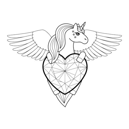 Unicorn with heart and wings. Vector outline pattern Ilustracja