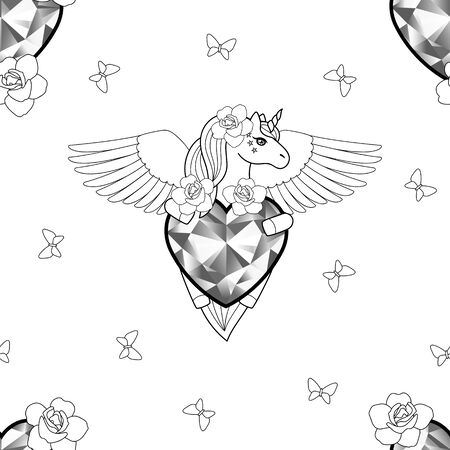 Unicorn with heart and wings seamless pattern.