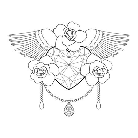 Heart, roses and wings. Vector outline coloring pattern Ilustracja