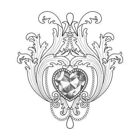 Baroque diamond jewelry pattern. Luxury coloring page.