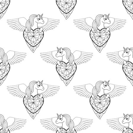 Unicorn with heart and wings vector seamless pattern