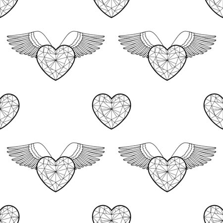 Heart and wings. Vector outline coloring pattern Ilustracja