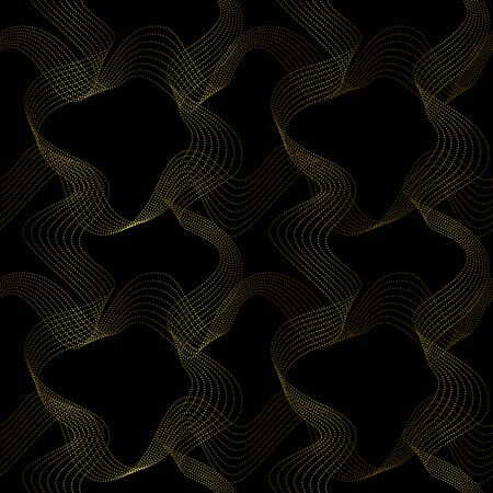Abstrat wave gold dots check seamless pattern Vector Illustration