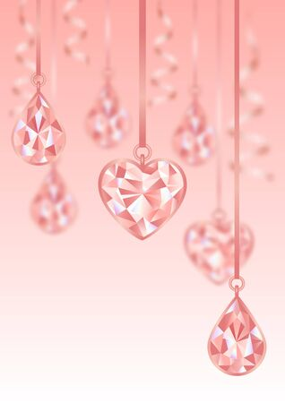 Romantic template wiht Pink Diamonds and blur effect