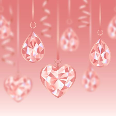 Romantic seamless border wiht Pink Diamonds and blur effect Иллюстрация