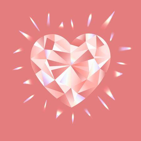 Pink Diamond vector illustration with rainbow highlights