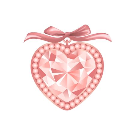 Pink Diamond vector jewelry illustration with pearls and bow