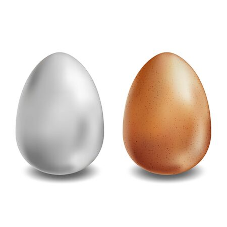 White and brown eggs on white background