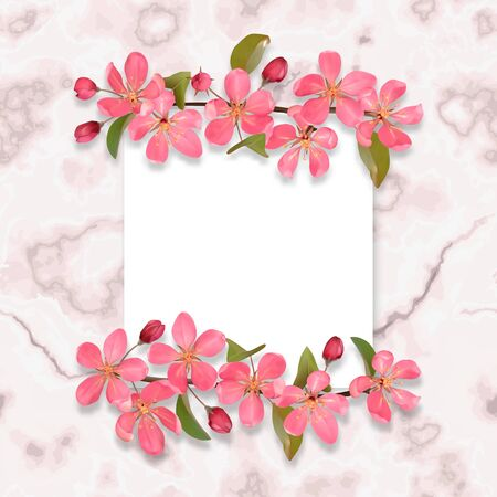 Card template with pink cherry blossom on marble background