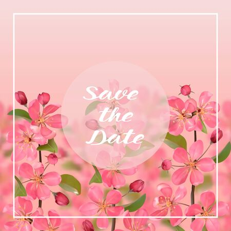 Save the Date card with cherry blossom