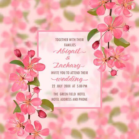 Wedding Invitation with cherry blossom Vector Illustratie