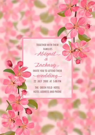 Wedding Invitation with cherry blossom