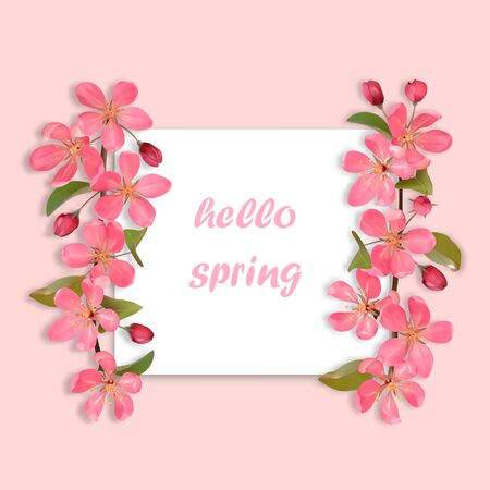 Hello Spring card with pink cherry, sakura blossom. Square mock up for greeting, birthday cards, wedding invitations, covers and posters with text place.