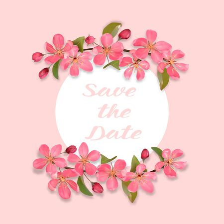 Save the Date card with cherry, sakura blossom. Square mock up for greeting, birthday cards, wedding invitations, covers and posters with text place.