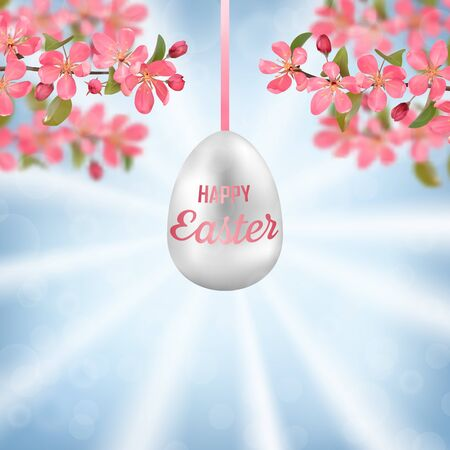 Happy Easter with cherry branches, Easter eggs on blue sky on a sunny day with bokeh effect. Vector template with text place for greeting spring and Easter cards, natural backgrounds. Ilustracja