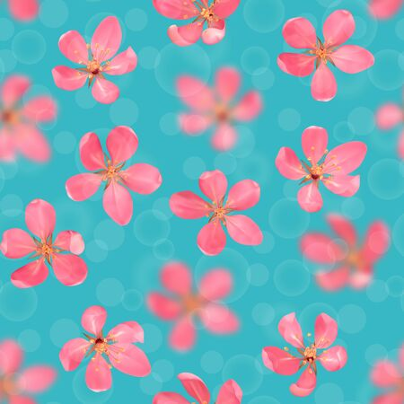 Seamless pattern from cherry blossom, sakura, almond flowers with bokeh effect. Vector spring repeat background, wallpapers, poster, wedding invitations, romantic textile print.