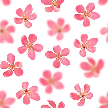 Seamless pattern from cherry blossom, sakura, almond flowers with bokeh effect isolated on white background. Vector spring repeat backdrop, wallpapers, poster, wedding invitations, romantic textile print. Ilustracja