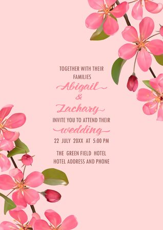 Template of wedding invitation card with cherry, sakura blossom. Mock up for greeting, birthday cards, invites, covers and posters with text place.