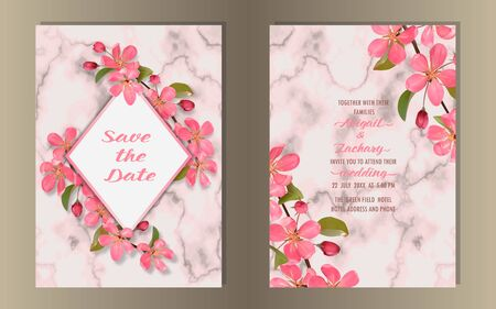 Template of wedding invitation card with cherry, sakura blossom on marble background. Mock up for greeting, birthday cards, invites, covers and posters with text place. Ilustração
