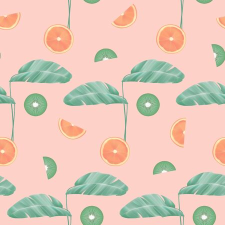 Tropical seamless pattern with leaves and fruit. Repeat vector background for textile prints, exotic wallpapers.
