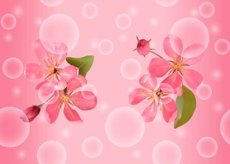 Seamless pattern with pink blossoming cherry for bed linen Vector Illustratie