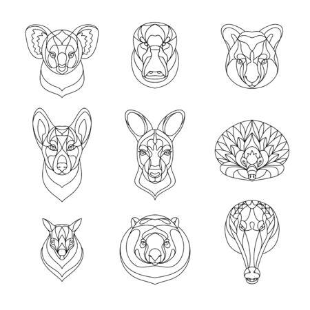 Australian animals outline coloring set. Vector illustration