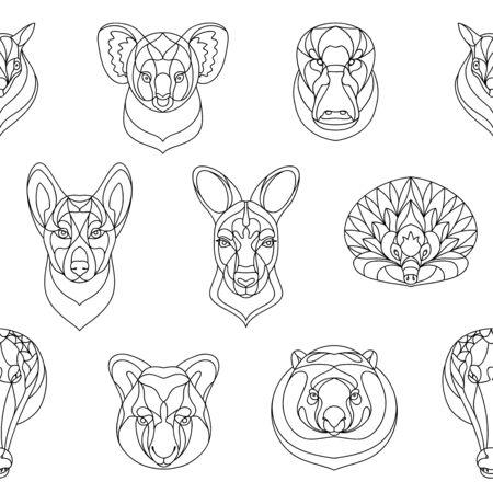 Australian animals outline coloring seamless pattern. Vector illustration