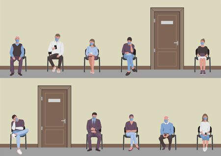 Social distancing of people sitting on chairs in corridor and waiting in the queue turn the door