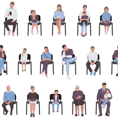 Adults and children sitting on chairs and waiting in the queue seamless pattern