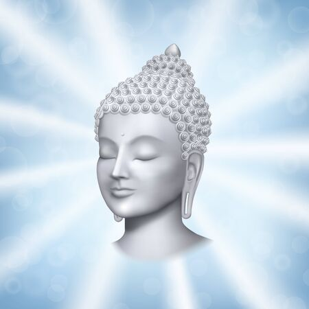 Buddha face with rays on blue background vector print