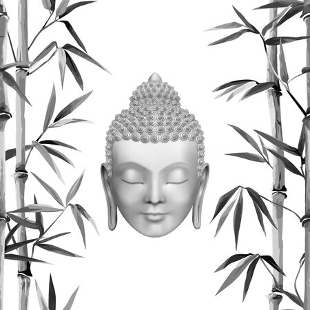 Buddha face with bamboo pattern. Esoteric vector illustration with Buddhism symbol, spiritual art, tattoo, t-shirt print.