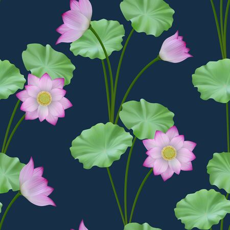 Pink lotus and leaves seamless pattern. Vector realistic floral repeat background Vecteurs