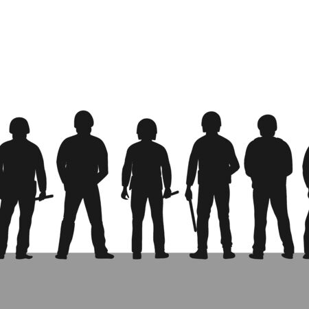 Silhouette of police line seamless border. Pow of policemen stands with their backs turned