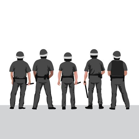 Police line vector illustration. Pow of policemen stands with their backs turned