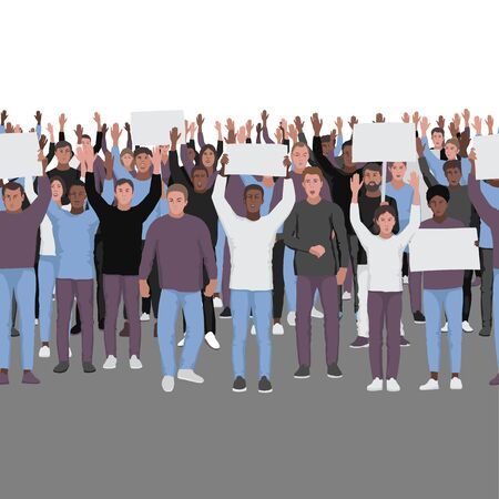 Protesting people with hands up seamless border. Public protest repeat background. Template with text place for web banners, posters