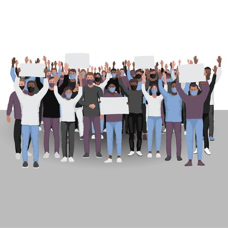 Protesting people with hands up in medical face masks. Public protest illustration