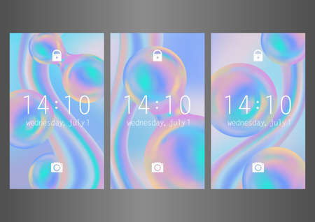 Abstract wallpaper design with rainbow balloons for mobile interface. Vector set