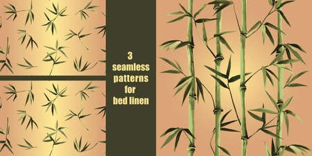 Green bamboo seamless pattern for bed linen, tropical background, wallpaper, nature textile and home interior print.