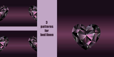 Seamless patterns with black crystal heart for bed linen set. Vector jewelry repeat backdrops, wallpapers, interior and romantic textile prints.