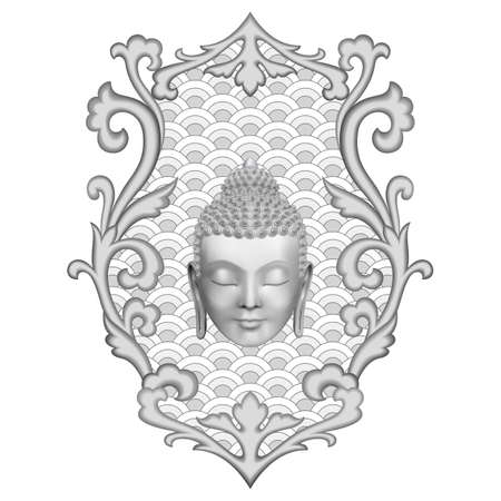 Buddha head with abstract floral decoration. Pattern for tattoo, textile and t-shirt print, mascots and amulets, black and white coloring page