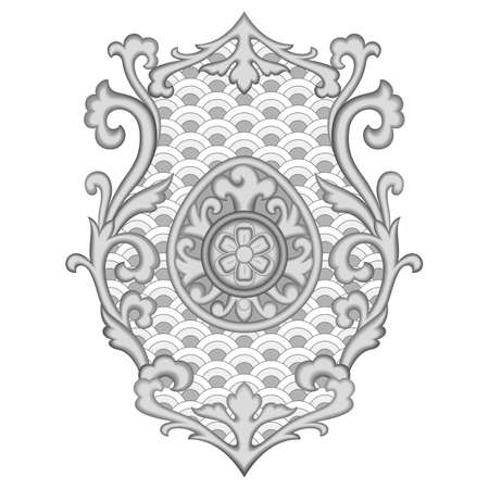 Abstract floral asian black and white pattern for textile, interior prints, tattoos, coloring page, baroque decoration